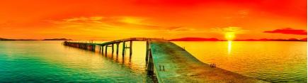 Скинали 'Цветной закат, мостик'