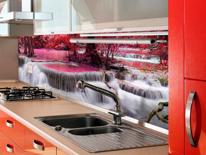 Скинали с водопадом на кухне фото экран плиты стену